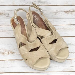 Clark's Artisan Tan Suede Wedges Shoes Size 8M